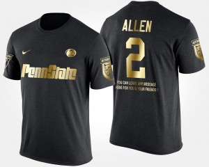 Marcus Allen College T-Shirt Penn State Nittany Lions #2 Short Sleeve With Message Gold Limited Men Black