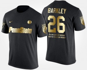#26 Gold Limited Black Penn State Saquon Barkley College T-Shirt Short Sleeve With Message For Men