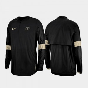2019 Coaches Sideline Black Purdue University Quarter-Zip Men's College Jacket