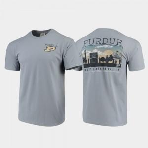 Purdue Comfort Colors Campus Scenery For Men College T-Shirt Gray