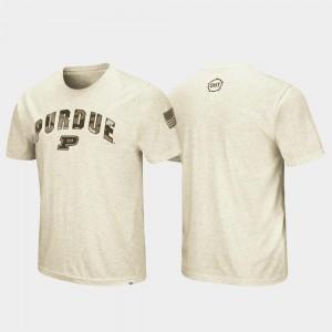 OHT Military Appreciation Desert Camo For Men College T-Shirt Oatmeal Purdue University