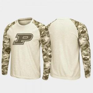College T-Shirt OHT Military Appreciation For Men's Purdue Oatmeal Raglan Long Sleeve Desert Camo