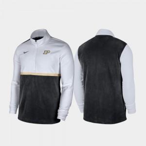 Purdue Boilermakers Color Block College Jacket For Men's White Black Quarter-Zip Pullover