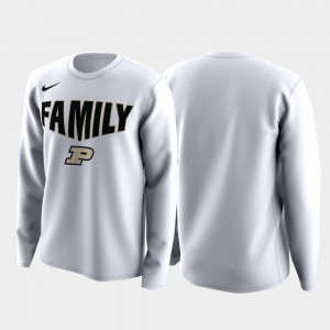 Men's College T-Shirt March Madness Legend Basketball Long Sleeve White Boilermaker Family on Court