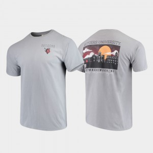 Gray College T-Shirt Men's Scarlet Knights Comfort Colors Campus Scenery