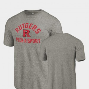 College T-Shirt Gray For Men's Pick-A-Sport Scarlet Knights Tri-Blend Distressed