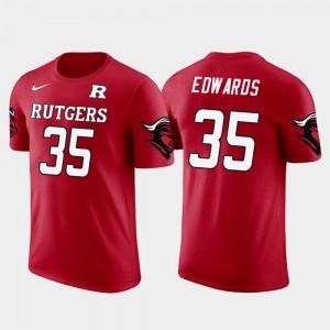 Baltimore Ravens Football Red Gus Edwards College T-Shirt Rutgers Mens Future Stars #35
