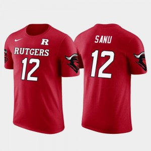 For Men Atlanta Falcons Football Red Future Stars Scarlet Knights #12 Mohamed Sanu College T-Shirt