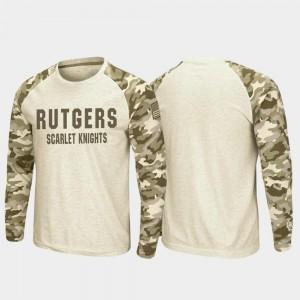 Mens Rutgers College T-Shirt OHT Military Appreciation Raglan Long Sleeve Desert Camo Oatmeal