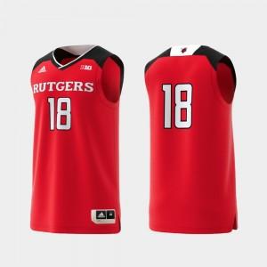 Men's #18 Replica Basketball Swingman Scarlet Knights Scarlet College Jersey