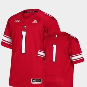#1 Men Rutgers University College Jersey Football Premier Scarlet