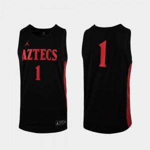 Replica Men's College Jersey #1 Black Aztecs Basketball