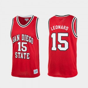 Kawhi Leonard College Jersey Authentic Basketball Mens Red #15 Aztecs