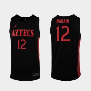 Replica Black #12 Nolan Narain College Jersey Men's Aztecs 2019-20 Basketball