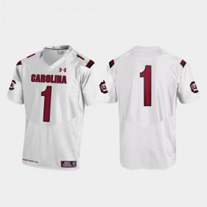 #1 White USC Gamecocks Men Replica Football College Jersey