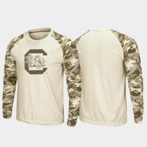 OHT Military Appreciation Raglan Long Sleeve Desert Camo Men's Oatmeal USC Gamecock College T-Shirt