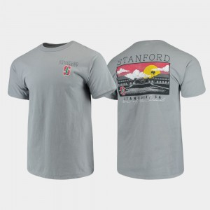 Men's Comfort Colors Stanford Cardinal College T-Shirt Campus Scenery Gray
