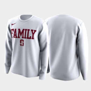 College T-Shirt Mens White Stanford March Madness Legend Basketball Long Sleeve Family on Court