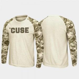 Oatmeal Syracuse University College T-Shirt Raglan Long Sleeve Desert Camo OHT Military Appreciation Men