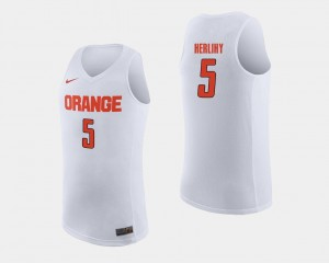 Orange Basketball #5 Mens White Patrick Herlihy College Jersey