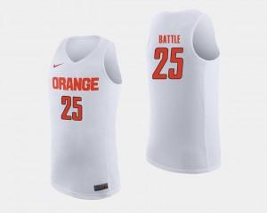 Syracuse Orange Tyus Battle College Jersey #25 Men White Basketball