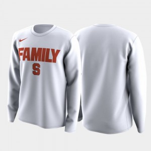 Family on Court College T-Shirt March Madness Legend Basketball Long Sleeve Mens White Cuse Orange
