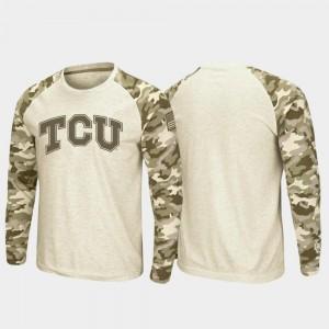 OHT Military Appreciation Raglan Long Sleeve Desert Camo Oatmeal TCU Horned Frogs College T-Shirt Mens