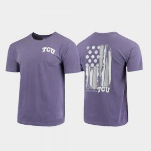 College T-Shirt Men's Horned Frogs Purple Baseball Flag Comfort Colors
