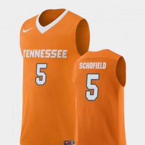 Orange Replica #5 University Of Tennessee Men's Admiral Schofield College Jersey Basketball