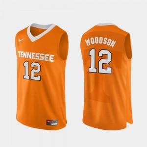 Authentic Performace Orange #12 VOL Basketball Men's Brad Woodson College Jersey