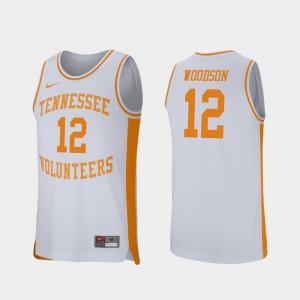 Brad Woodson College Jersey Tennessee Volunteers #12 Retro Performance Men Basketball White