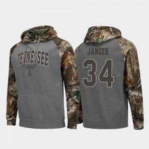Realtree Camo #34 Charcoal Tennessee Vols Brock Jancek College Hoodie Colosseum Raglan Men