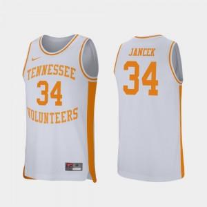 Retro Performance White University Of Tennessee Brock Jancek College Jersey For Men's Basketball #34
