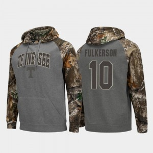 Colosseum Raglan Men Charcoal Realtree Camo UT VOL #10 John Fulkerson College Hoodie