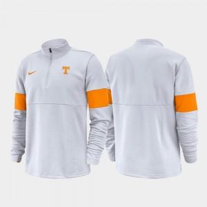 College Jacket Men's Tennessee 2019 Coaches Sideline White Half-Zip Performance