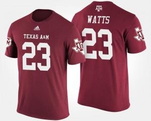 For Men's Texas A&M University Armani Watts College T-Shirt #23 Maroon