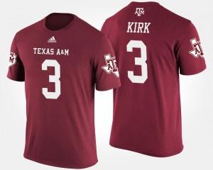 #3 Maroon Aggies Christian Kirk College T-Shirt Mens