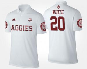 #20 For Men James White College Polo White Aggies
