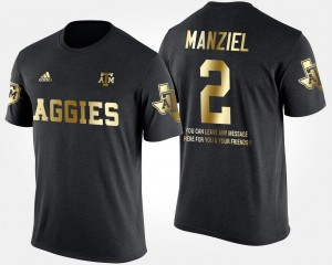 #2 Johnny Manziel College T-Shirt Black Gold Limited Short Sleeve With Message TAMU For Men