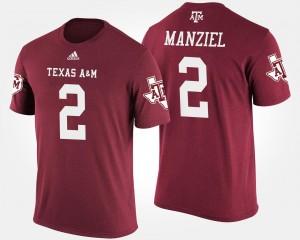 Maroon Johnny Manziel College T-Shirt For Men #2 Texas A&M Aggies