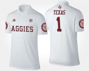 Texas A&M #1 White Mens No.1 Short Sleeve College Polo