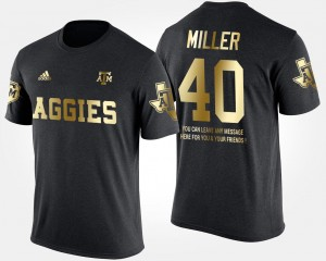 #40 For Men's Short Sleeve With Message Texas A&M Black Von Miller College T-Shirt Gold Limited