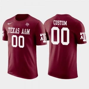 Crimson Cotton Football #00 College Customized T-Shirts For Men Future Stars A&M