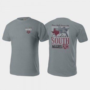 College T-Shirt Gray Pride of the South Texas A&M Comfort Colors Mens