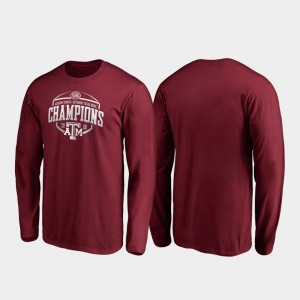 Corner Long Sleeve For Men's 2019 Texas Bowl Champions Aggie Maroon College T-Shirt