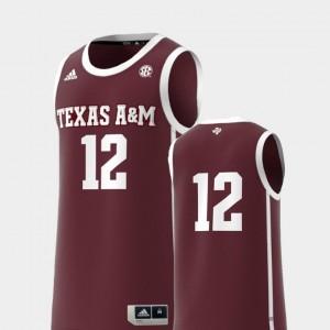Basketball Swingman #12 Replica Maroon TAMU College Jersey Mens