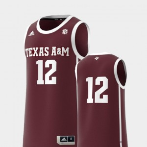 Texas A&M Maroon Basketball Swingman #12 Men Replica College Jersey