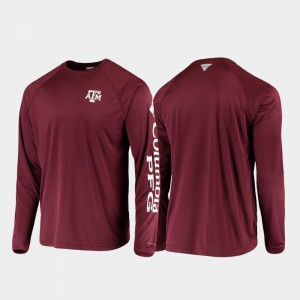 College T-Shirt For Men's Omni-Shade PFG Terminal Tackle Long Sleeve Texas A&M Aggies Maroon