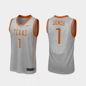 Andrew Jones College Jersey #1 Gray Replica Basketball Longhorns Men