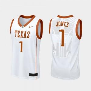 #1 Andrew Jones College Jersey Men's Replica White Basketball Longhorns